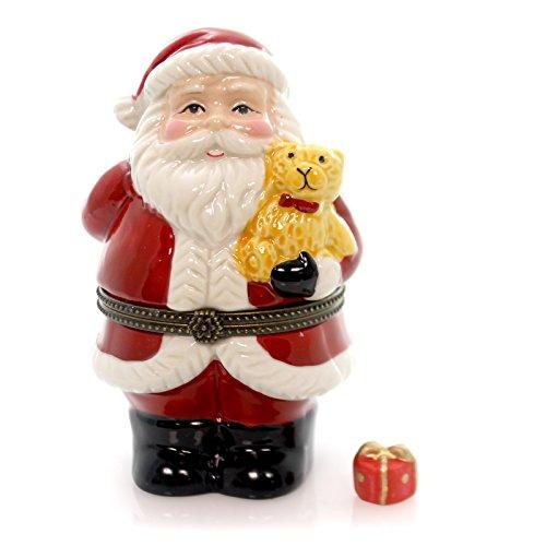 Box Santa Hinged (Art Gifts Santa Claus Holding Teddy Bear Hinged Trinket Box phb)