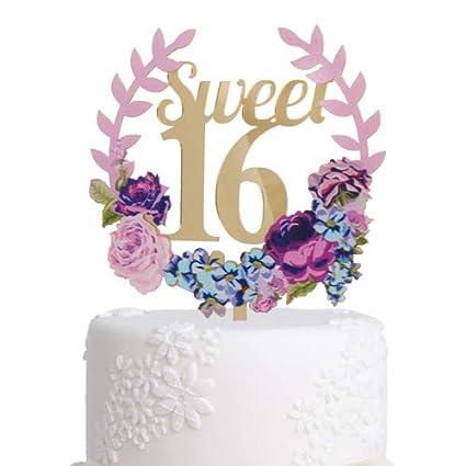 Wondrous Amazon Com Grature Happy Birthday Cake Topper Sweet 16 Birthday Birthday Cards Printable Riciscafe Filternl