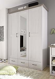 AVANTI TRENDSTORE-Armario de imitación de madera, color blanco, aproximadamente 142 x 200 x 55 cm
