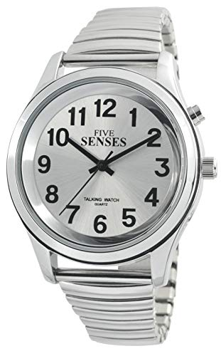 English Talking Men's Watch with Loud Alarm Clock for Visually impaired, Elderly or Blind by 5 Senses TC-1152A