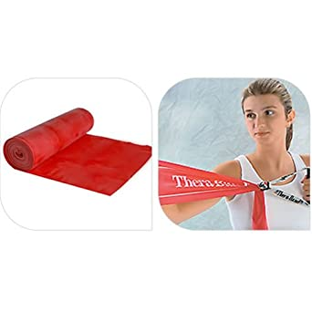 /& Rehab Red Physical Therapy TheraBand Resistance Bands Medium At-Home Workouts 6 Yard Roll Professional Latex Elastic Band For Upper Body Pilates Lower Body Beginner Level 3 /& Core Exercise