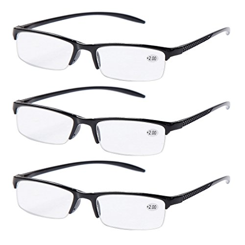 Half Rim (3 PRS of Southern Seas Black +2.00 Reading Glasses Mens Womens Half Rim Spectacles Fashion)
