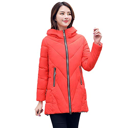 (YKARITIANNA Womens Solid Outdoors Soft Shell Quilted Winter Coat Collar Long Jackets Thicken Padded Hooded Boyfriend Coat Red)