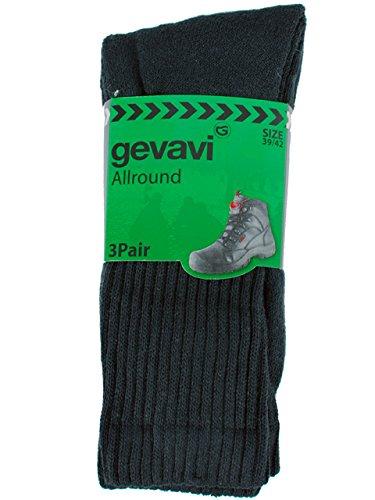 Gevavi Workwear Gw8400430 Gw84 Basic Sportstrumpfe 3 Paar, 43-46, Schwarz