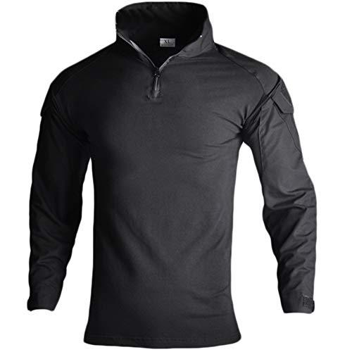 - YOUNGFASHION Men's Military Airsoft BDU Shirt Combat Tactical Long Sleeve Shirt,BK,XL