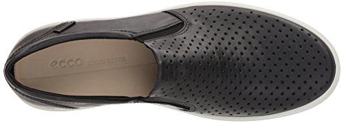 Ecco Heren Soft 7 Slip Sneaker Zwart Retro Geperforeerd