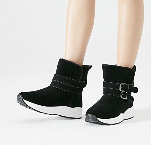 KUKI Damenschuhe, Damenstiefel, Schneeschuhe, kurze Schläuche, dicke Sohlen, Baumwollschuhe, Sportschuhe black
