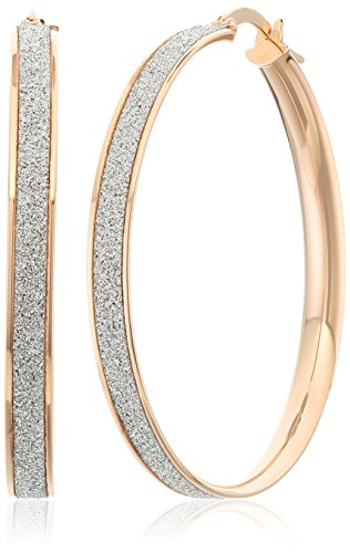 14k Rose Gold Italian 35 mm Hoop Earrings with Pave Style Glitter Hoop Earrings