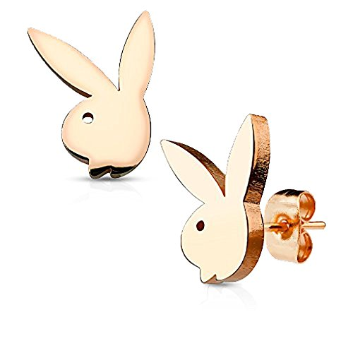 Playboy Womens Bunny - Pair of Playboy Bunny 316L Stainless Steel Earring Studs (Rose Gold)