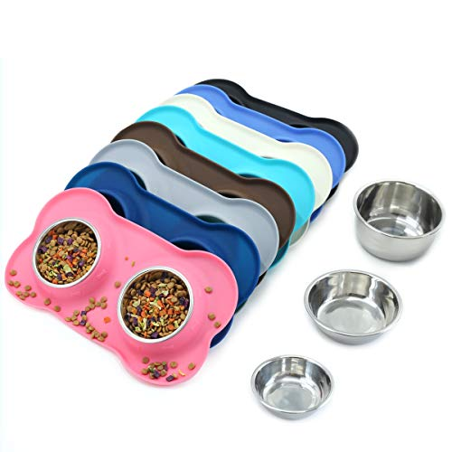 (Vivaglory Dog Bowls Stainless Steel Water and Food Bowl Pet Puppy Cat Feeder with Non Spill Skid Resistant Silicone Mat, Medium, Pink)