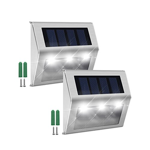 Solar Step Lights with Larger-Storage Batteries JACKYLED 2-Pack LED Solar Powered Weatherproof Outdoor Lighting for Steps Stairs Paths Patio ()