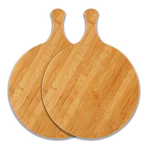 MNBV Bamboe Pizza Peel Paddle Snijplank Houten Pizza Tray met Handvat voor Cake, Kaas, Brood, fruit, Steak, 2 Pack Rond…