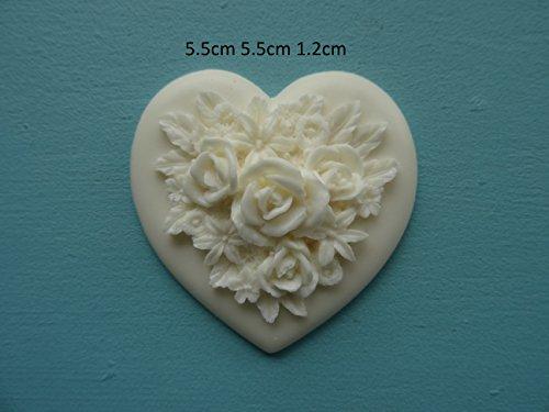 Decorative rose on heart applique furniture moulding RH1 ()