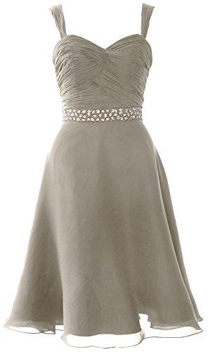 MACloth Elegant Straps Chiffon Cocktail Dress Short Wedding Party Formal Gown Plateado