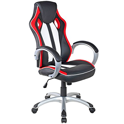 Giantex Executive Racing Style Chair High Back Office Chair Bucket Seat Computer Desk Task (Black&White&Red)
