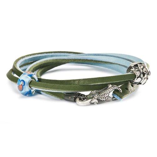 Trollbeads leather bracelet light blue/green cm 36 (TLEBR-00019 )
