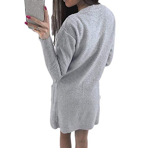 Manica Lunga Colore Confortevole Moda Outerwear Giorno Grau Puro Con Maglie Maglioni Tasche Donna Invernali Autunno Moda Giovane Cardigan wgYnpq4xFU
