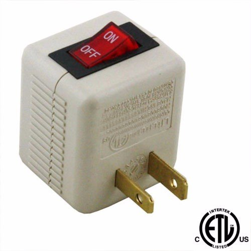 wideskall 2 prong ac power wall plug on off switch tap