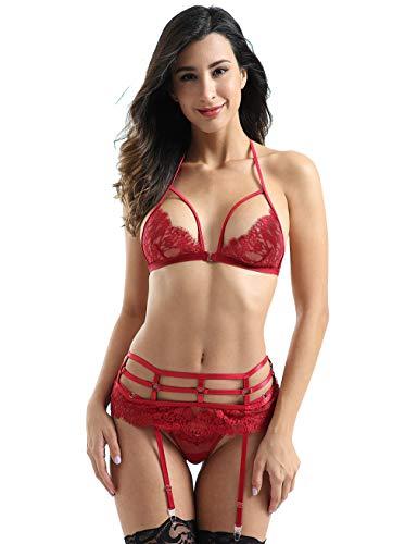 Women Sexy Lingerie Set, Lace Bralette and G-String Panty with Garter Belt Strap 3 Piece Lingerie Bra Set Medium Red