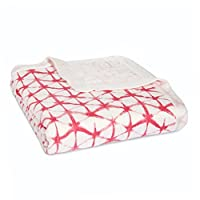 aden + anais Silky Soft Dream Blanket, 100% Cotton Bamboo Muslin, 4 Layer Lightweight and Breathable, 47 X 47 inch, Berry Shibori - Pink