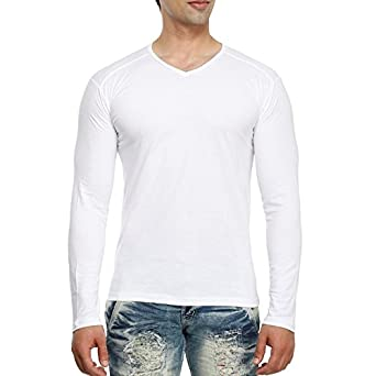 Tees Collection Men's V-Neck Full Sleeve Cotton T-shirt: Amazon.in ...