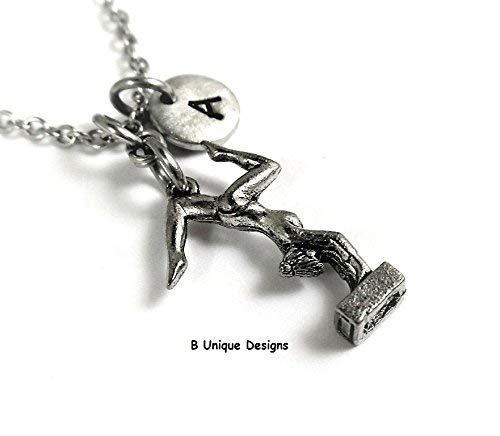 Gymnast 3D Necklace Gymnastics Personalized Initial Women's Jewelry Add Birthstone Crystal or Your Name Sports ()