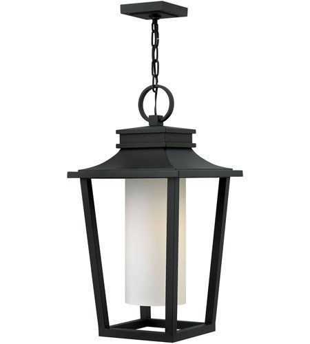 - Outdoor Pendant 1 Light with Black Etched Opal Aluminum Medium Base 12 inch 100 Watts