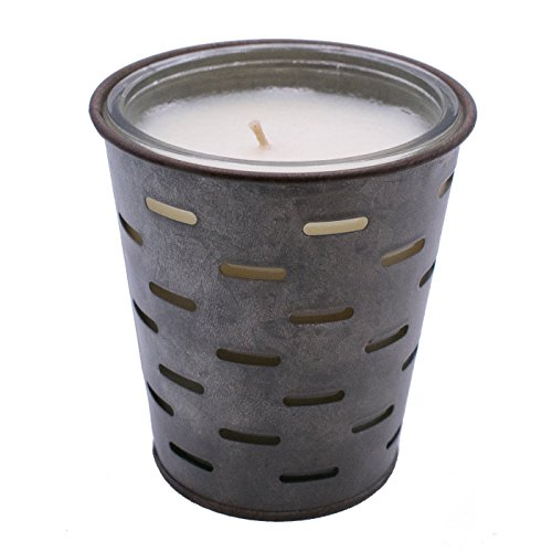 Pear Scented Glass (SUGARED PEAR, Olive Bucket Fragrance Candle, Highly Scented, Glass Jar In Galvanized Tin Pot, 13oz)