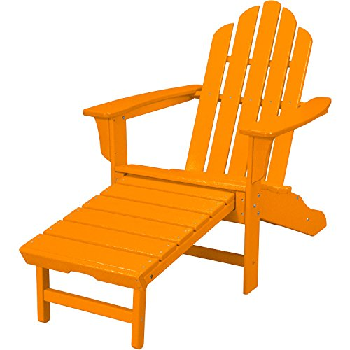 Hanover All-Weather Adirondack Chair with Ottoman Tangerine HVLNA15TA