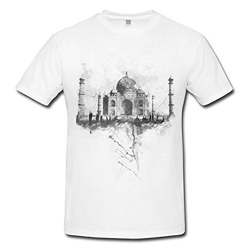 Taj Mahal T-Shirt Herren, weiß mit Aufdruck
