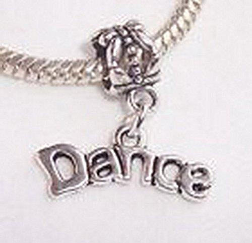 [Beads Hut - Dance Word Dancer Ballet Dangle Bead fits Silver European Style Charm Bracelets] (Aztec Dancers Costumes)