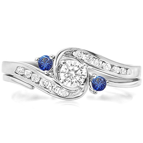 10K-White-Gold-Round-Blue-Sapphire-White-Diamond-Ladies-Swirl-Bridal-Engagement-Ring-Matching-Band-Set