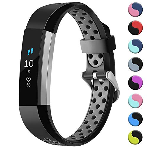 GEAK for Fitbit Alta/Alta HR/Ace Bands Sports Replacement Accessorries Wristband with Watch Buckle, Small Black/Grey