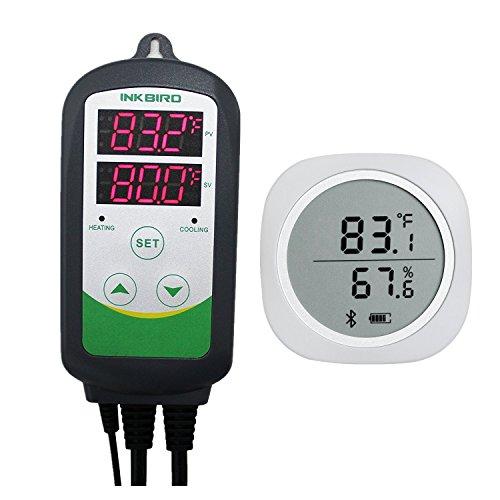 Inkbird Combo Bluetooth Wireless Temp/RH Magnetic Monitor Smart Sensor Data Logger + Temperature Humidity Controller Thermostat Hygrostat Thermometer Hygrometer (IBS-TH1 Plus + ITC-308)