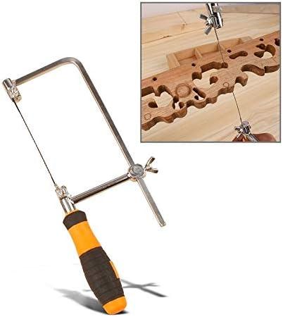 LIJIAN 幅:75mm、合金/木/形成管/ワイヤーDIYハンドツール用ブレード付きU形弓のこぎりポータブル木工のこぎり