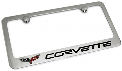 DanteGTS Corvette C6 Logo License Plate Frame Chrome Plated Brass Hand Painted Engraved