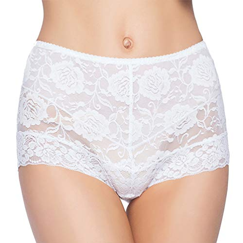 Eve's temptation Janice Women's High Waist Lace Panties Tummy Control Seamless Slimming Underwear Full Coverage Brief-White Medium