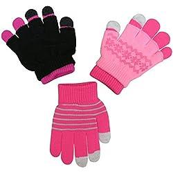N'Ice Caps Girls Magic Stretch Gloves 3 Pair Pack Assortment (6-12 Years, Fuchsia/Black Neon Pink/Pink)
