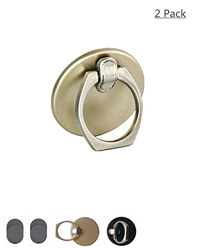 Finger Ring Grip/Kickstand Phone Holder with Car mount Hook for iphone 5 6 7 Plus Samsung.. (2pcs/Pack Black and Golden)