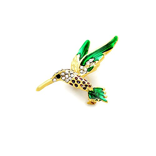Joji Boutique Bejeweled and Enameled Hummingbird Pin