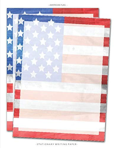 Patriotic Certificate Border - American Flag Stationary Writing Paper: Patriotic 4th of July Stationery Letterhead Paper, Set of 25 Sheets for Writing, Flyers, Copying, Crafting, ... Events, School Supplies, 8.5 x 11 Inch