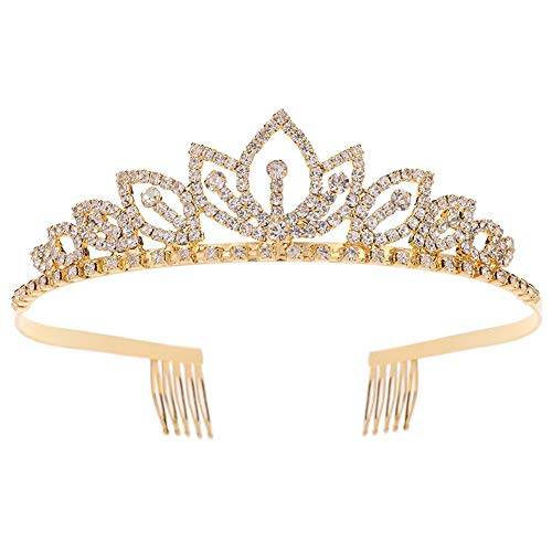 Princess Crystal Tiara Crown with Comb Women Girls Cosplay Party Queen Bridal Wedding Hair Jewelry Headband 5.5 Gold