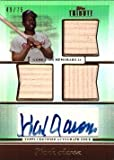 2011 Topps Tribute Triple Relic Green Certified Autograph #TATR-HA Hank Aaron Game Used Bat Baseball Card - Only 75 made! - Near Mint to Mint