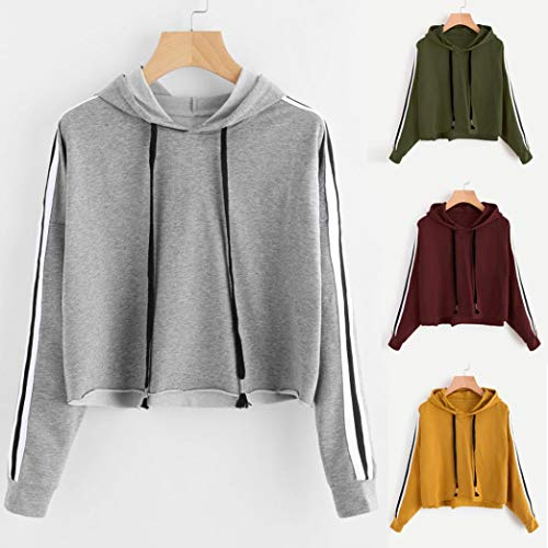 Capuche Capuche Vert Longues Pull LULIKA Rayures Sweat pour Capuche Manches Blouse Femmes Sweat Tops 8wwqg5Ox1