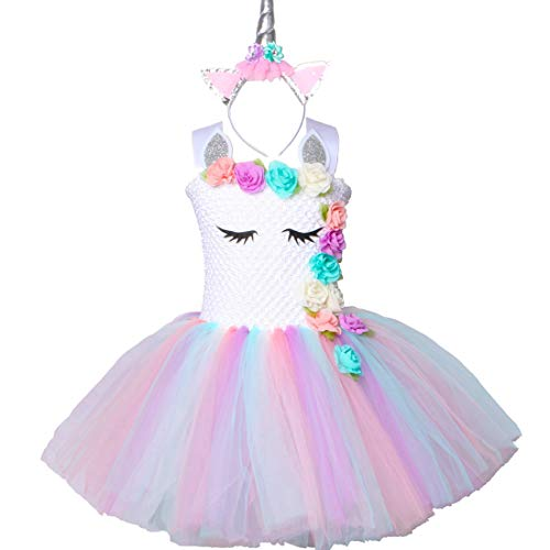 Pastel Unicorn Tutu Dress for Girls Kids Birthday Party Unicorn Costume Outfit with Headband, Color 1, X-Large(7-8years)]()
