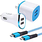 Android Phone Wall Charger Car Adapter Micro Cable Set, Amtobo Fast Charging Plug Cube Car Charger Flush Fit with 2-Pack USB Micro Cord Compatible for Samsung Galaxy S7 S6 Edage, HTC, Kindle, PS4, MP3