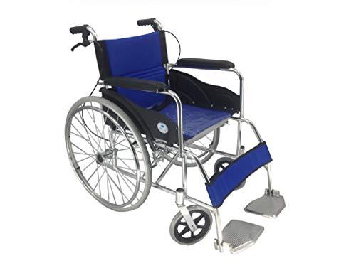 SGKJJ Wheelchair Aluminum Alloy Foldable Wheelchair with Back Cushion Strap Fixed Straight Armrest Pedal Wheelchair