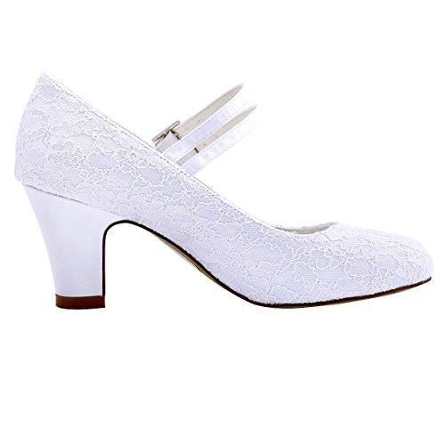 ElegantPark HC1708 Mujer Bloquear Heel Mary Jane Pumps Hebilla Satén Cordones Zapatos de Novia Blanco