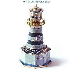 Lighthouse Box Swarovski Crystals Beacon Jewelry, Trinket, Pill Box Figurine