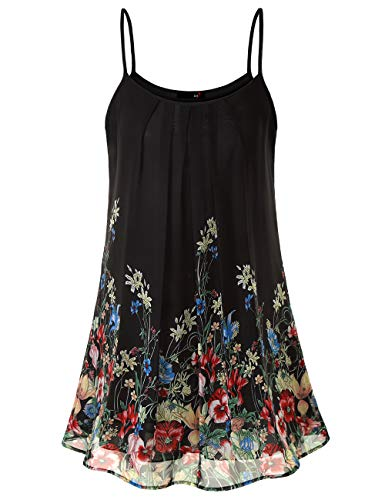 Summer Dresses for Women, DJT Womens Casual Summer Hawaiian Dresses for Women Sleeveless Beach Slip Sun Dress Black Floral M
